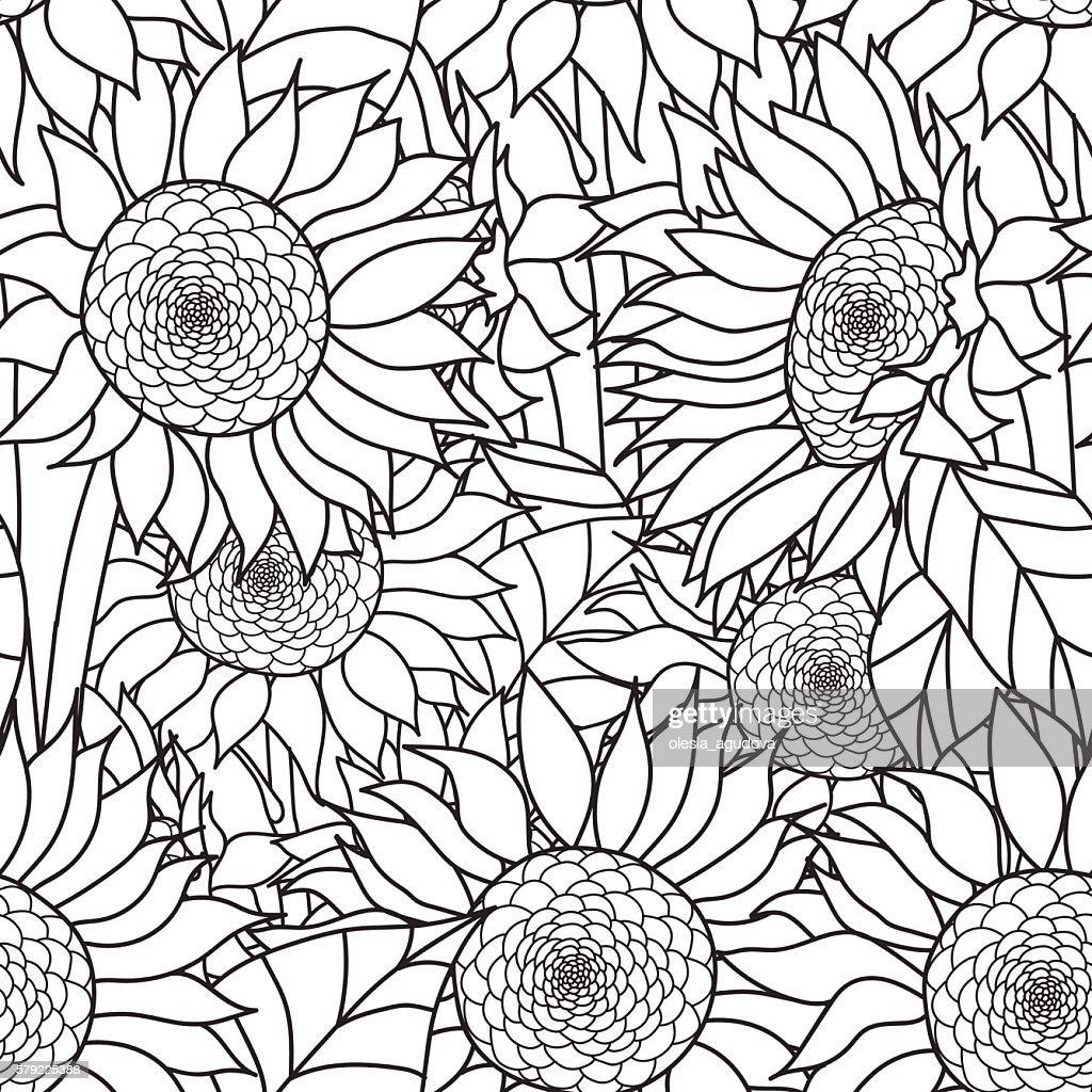 Seamless Sunflowers bouquet. Vector. Coloring book page for adults. Hand