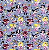 Seamless superhero girls background pattern in vector.