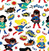 Seamless superhero girls background pattern in vector.