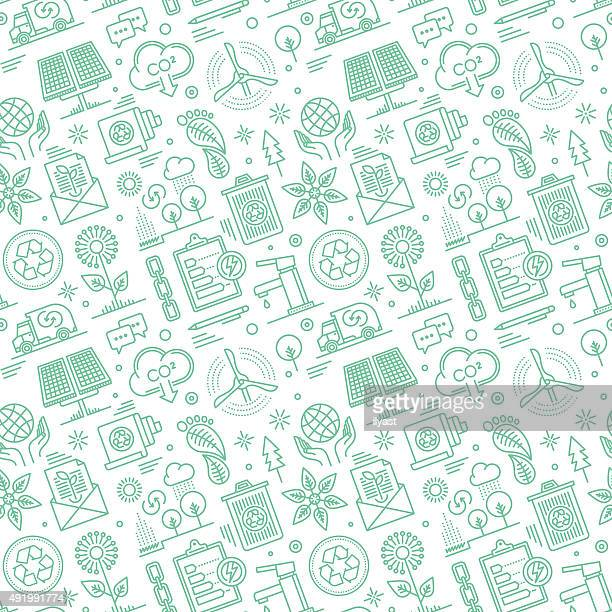 seamless sustainability pattern - environment stock illustrations
