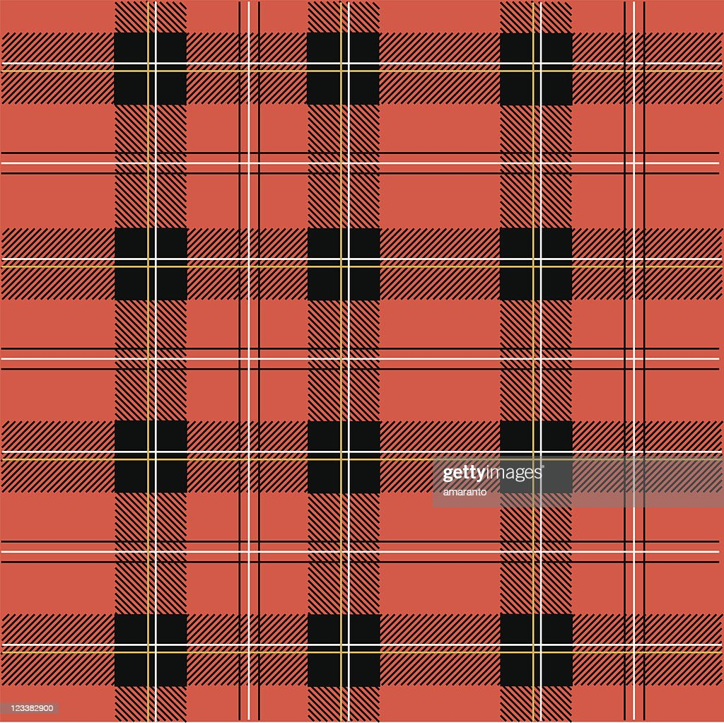 Seamless tartan pattern background in red, white and black