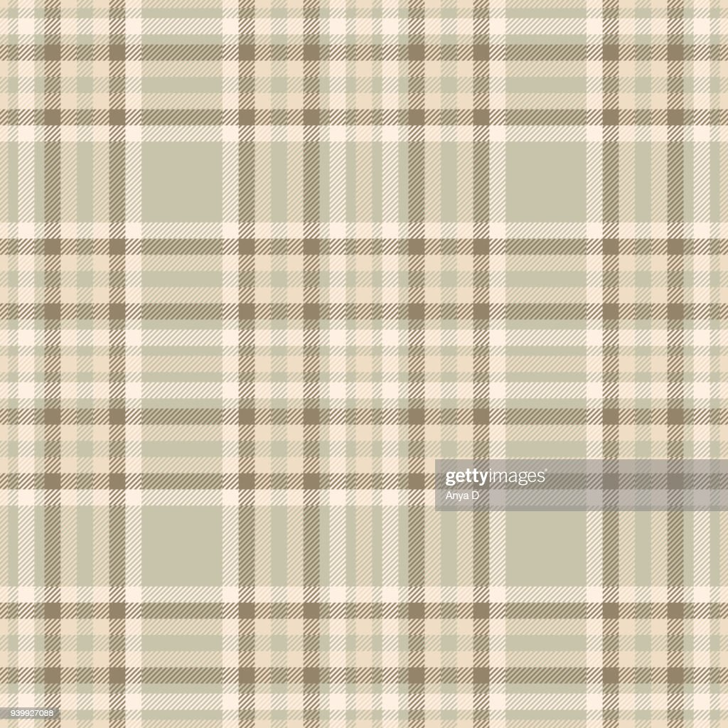 Seamless tartan plaid pattern in cream beige, ivory yellow, taupe and tan brown.