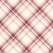 Seamless tartan plaid pattern in pink, cream and burgundy.