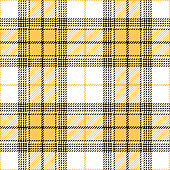 Seamless tartan plaid pattern vector. Contrast bright check plaid in yellow, white, and black for modern summer fashion textile design.