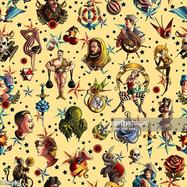 seamless tattoo texture - gymnastics stock illustrations, clip art, cartoons, & icons