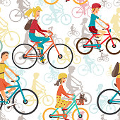 Seamless textile pattern with family to ride a bike