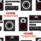 Seamless textile pattern with home theatre