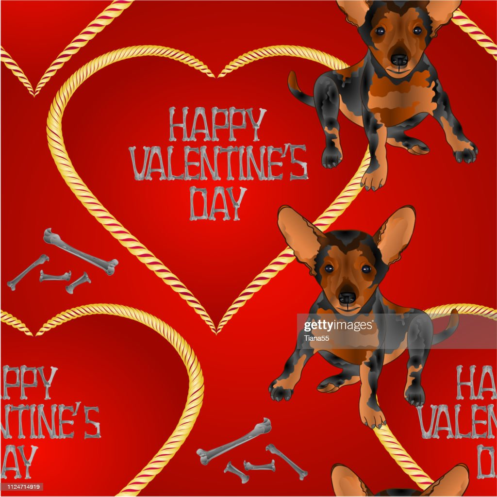 Seamless texture dog puppy small happy  brown terrier and heart valentines place for text red background vintage vector illustration editable
