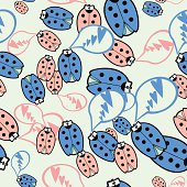 Seamless texture ladybugs in love