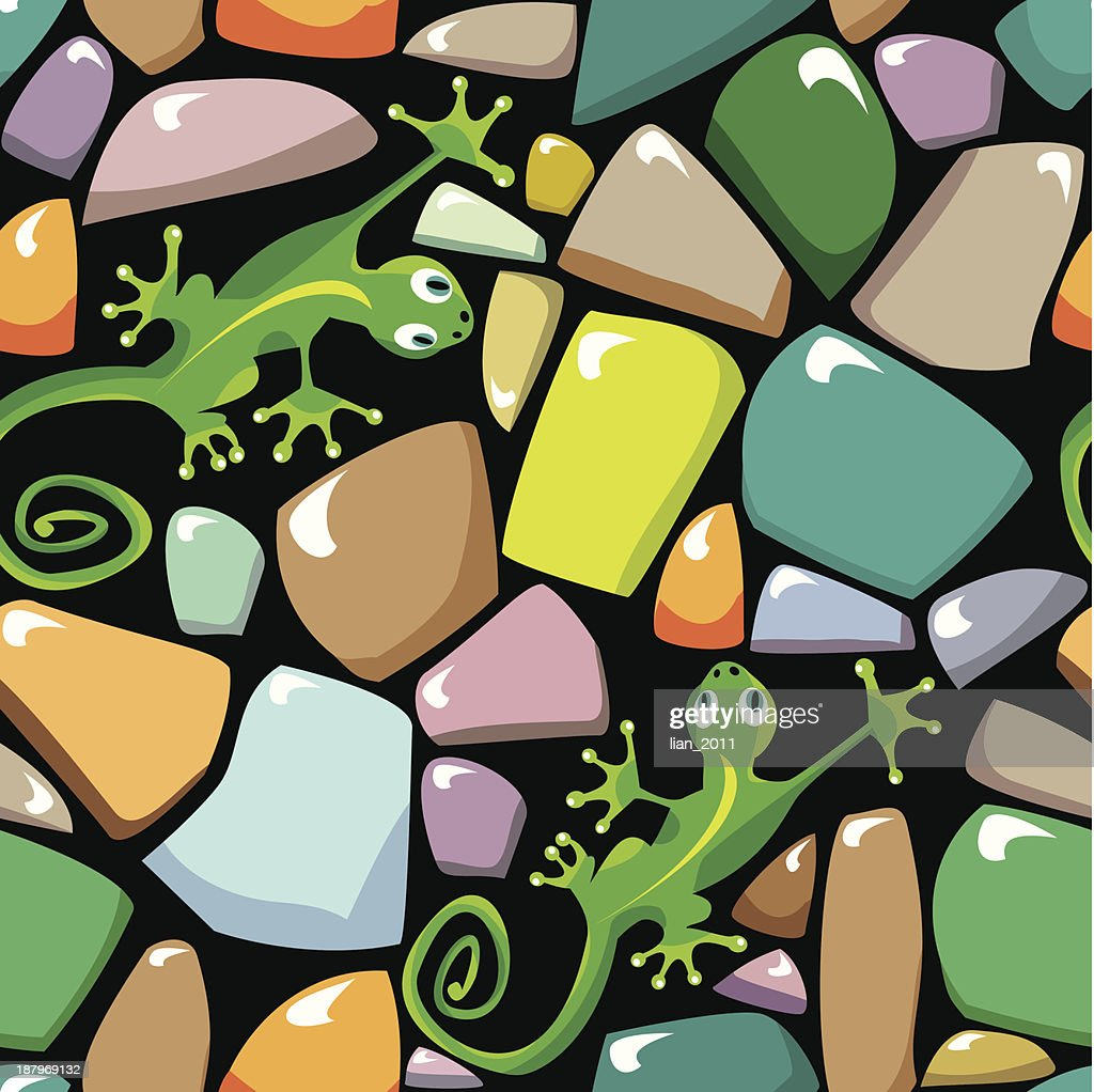 Seamless texture of colorful pebble stonewall with lizards