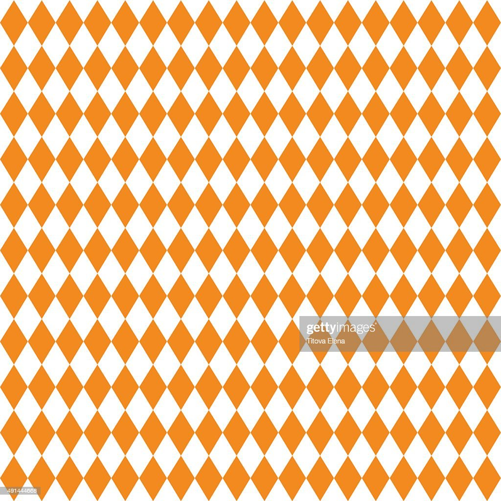 Seamless texture of rhombuses. White and orange colors.