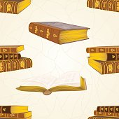 Seamless texture old leather-bound books vintage  vector