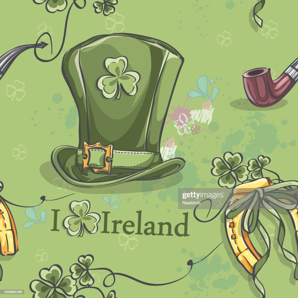 Seamless texture on a green background for St. Patrick's : Vector Art