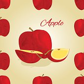 Seamless texture red apple vector