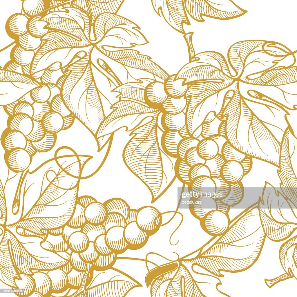 Seamless texture vector graphics depicting bunches of grapes and vine