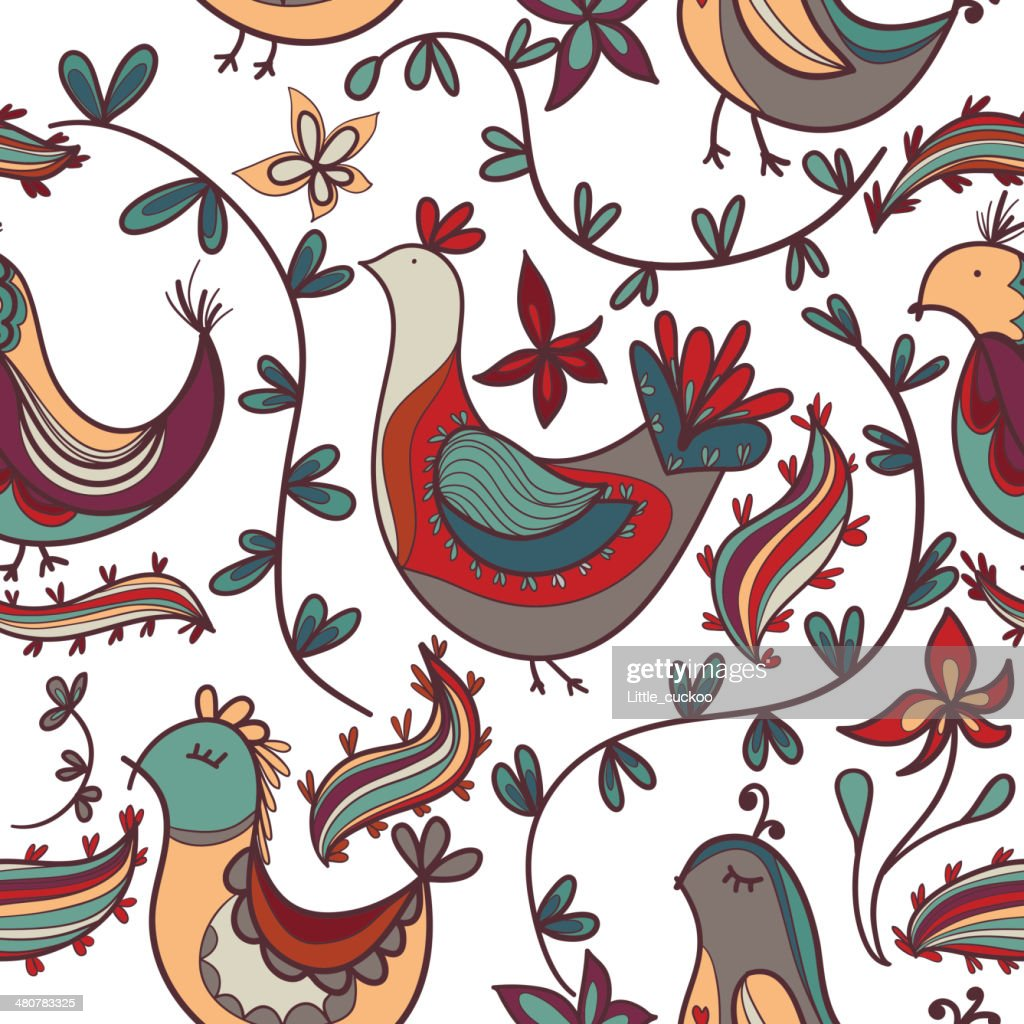 Seamless texture with flowers and birds