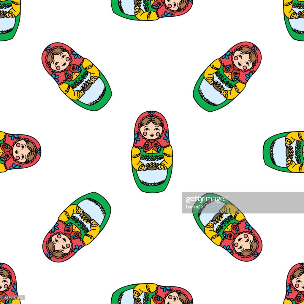 Seamless texture with funny Russian dolls - Matryoshka.