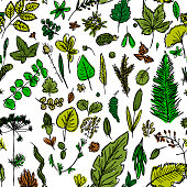 seamless texture with the image of children's drawings of green leaves and branches drawn quickly by hand