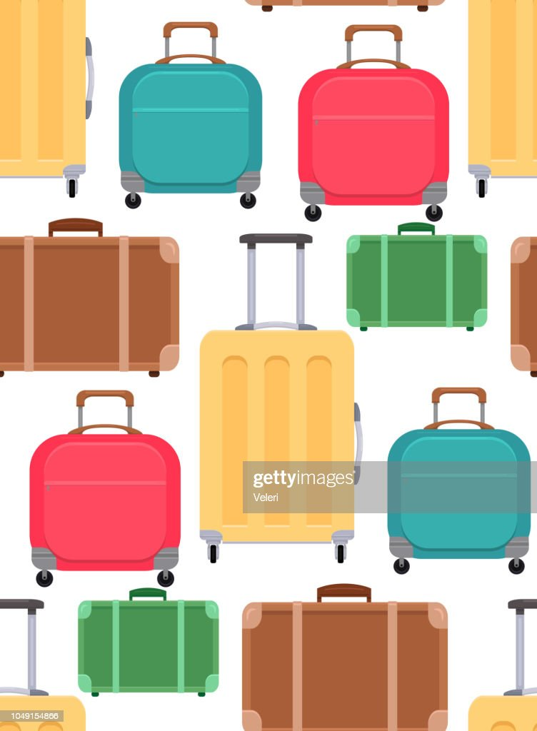 Seamless texture with various suitcases on a white background. Vector pattern