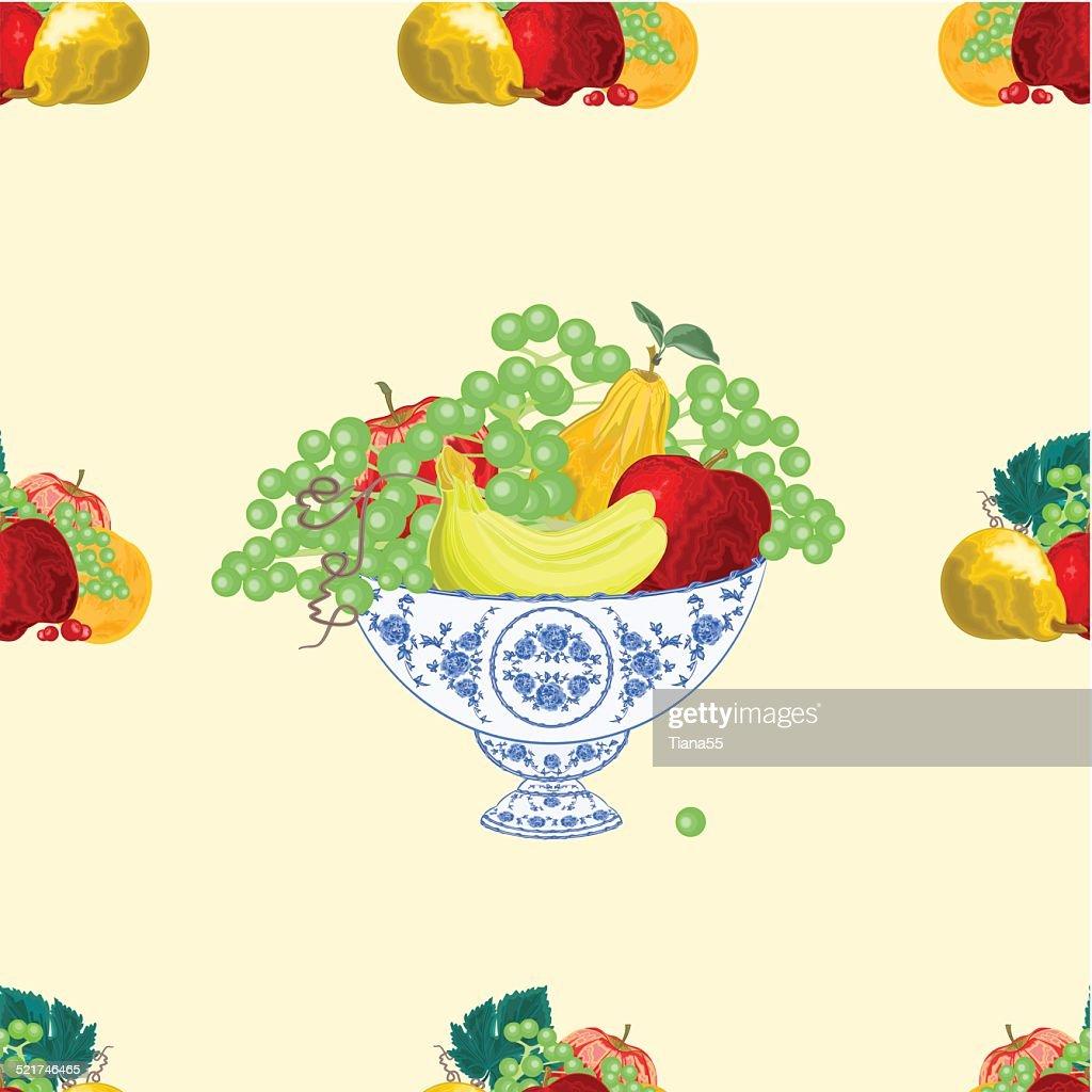 Seamless texure fruit bowl vector