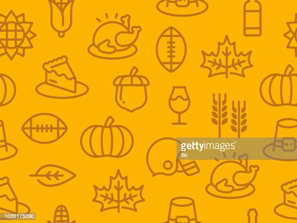 stockillustraties, clipart, cartoons en iconen met naadloze thanksgiving herfst achtergrond - food and drink