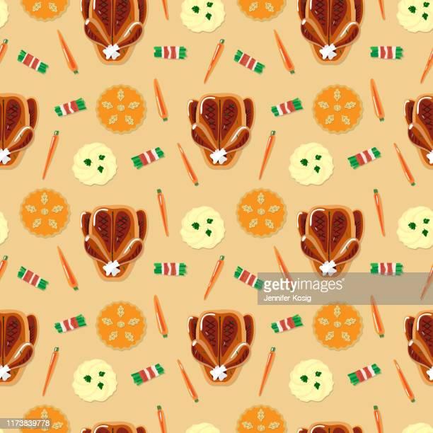 ilustraciones, imágenes clip art, dibujos animados e iconos de stock de patrón de ilustración de la cena de acción de gracias sin costuras, fondo beige - pollo asado