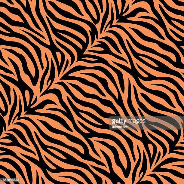 ilustraciones, imágenes clip art, dibujos animados e iconos de stock de excelente patrón de la piel de tigre - fauna silvestre