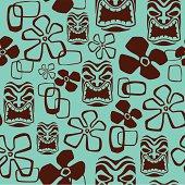 Seamless Tiki Mask Pattern