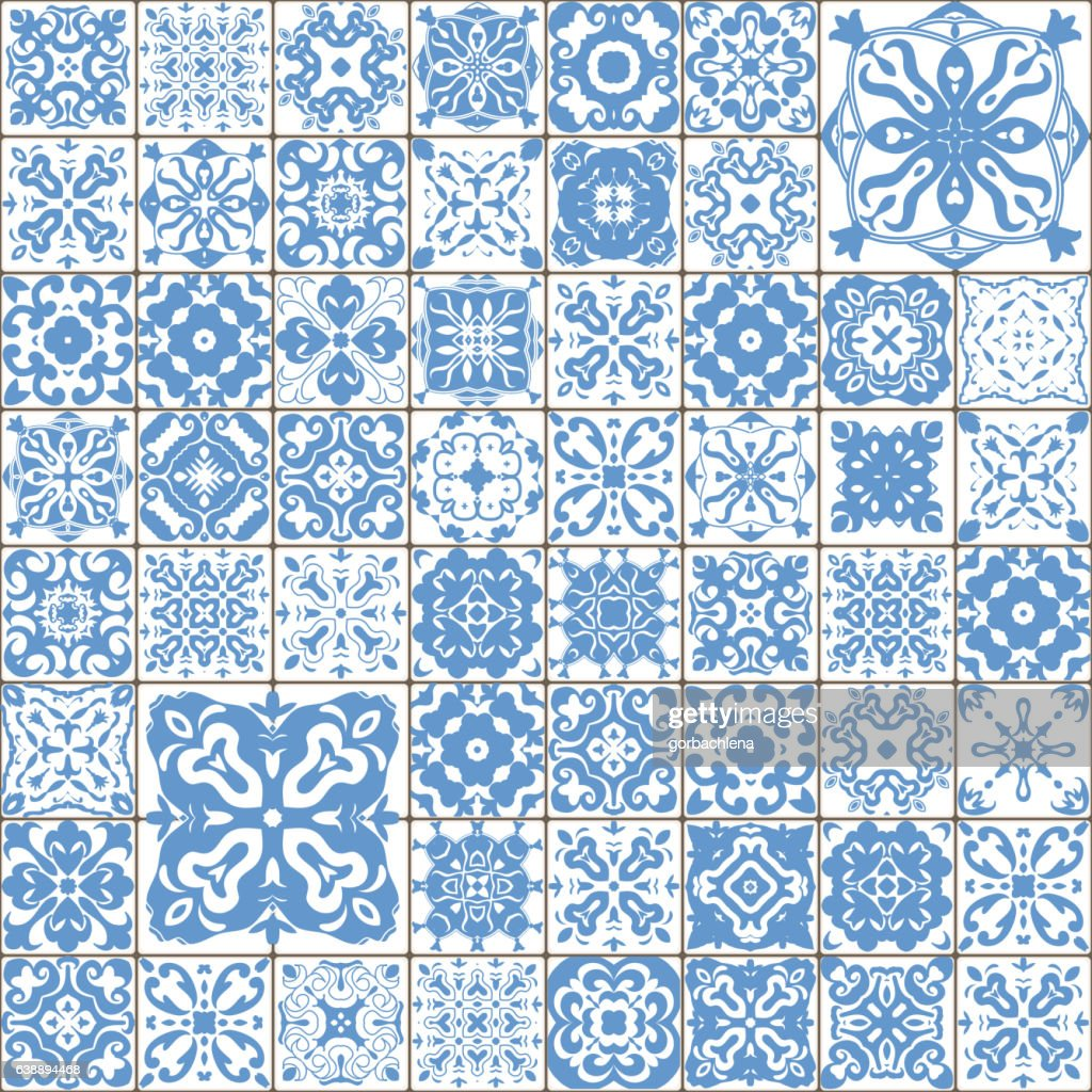 Seamless tile pattern. Square flower blue mosaic. vector.