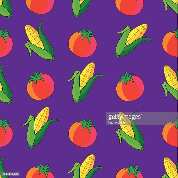 seamless tile vegetables pattern - zea stock illustrations, clip art, cartoons, & icons