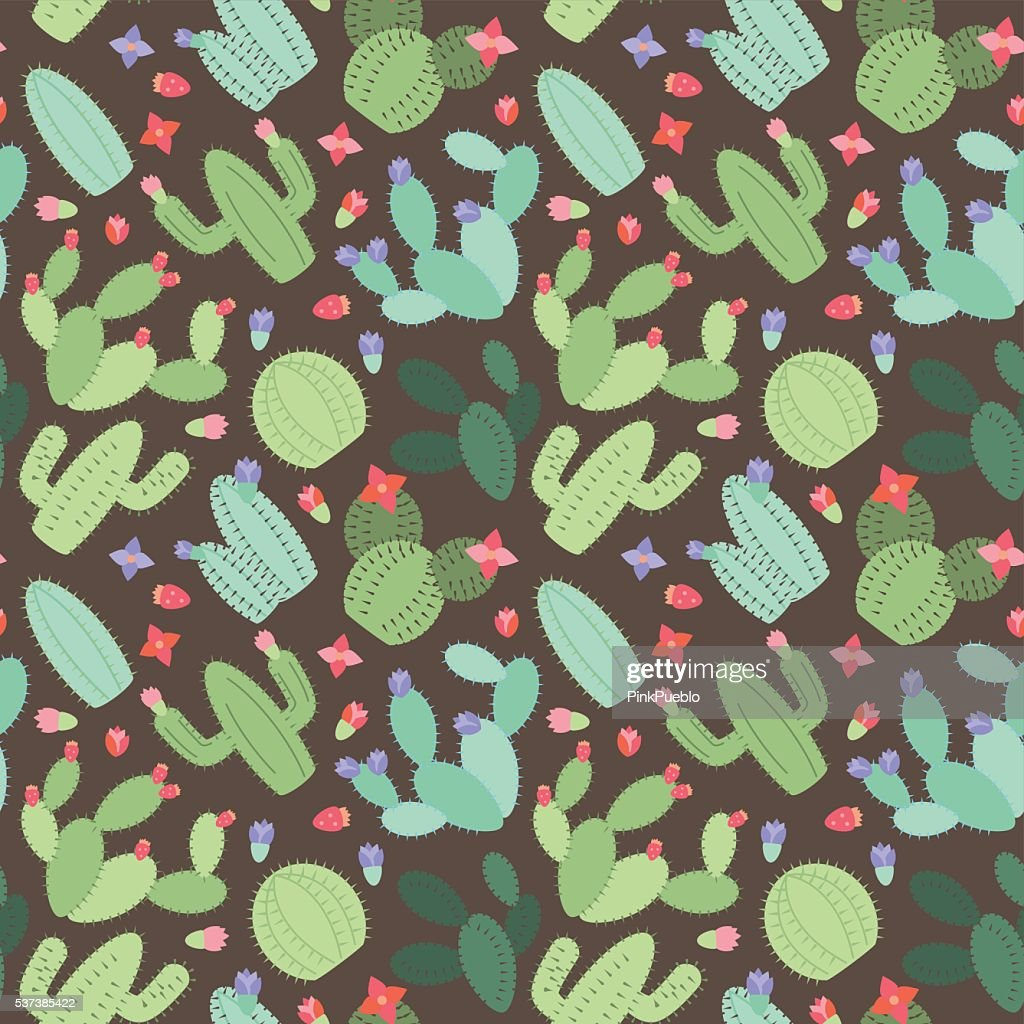 Seamless, Tileable Vector Background with Cactus and Succulents