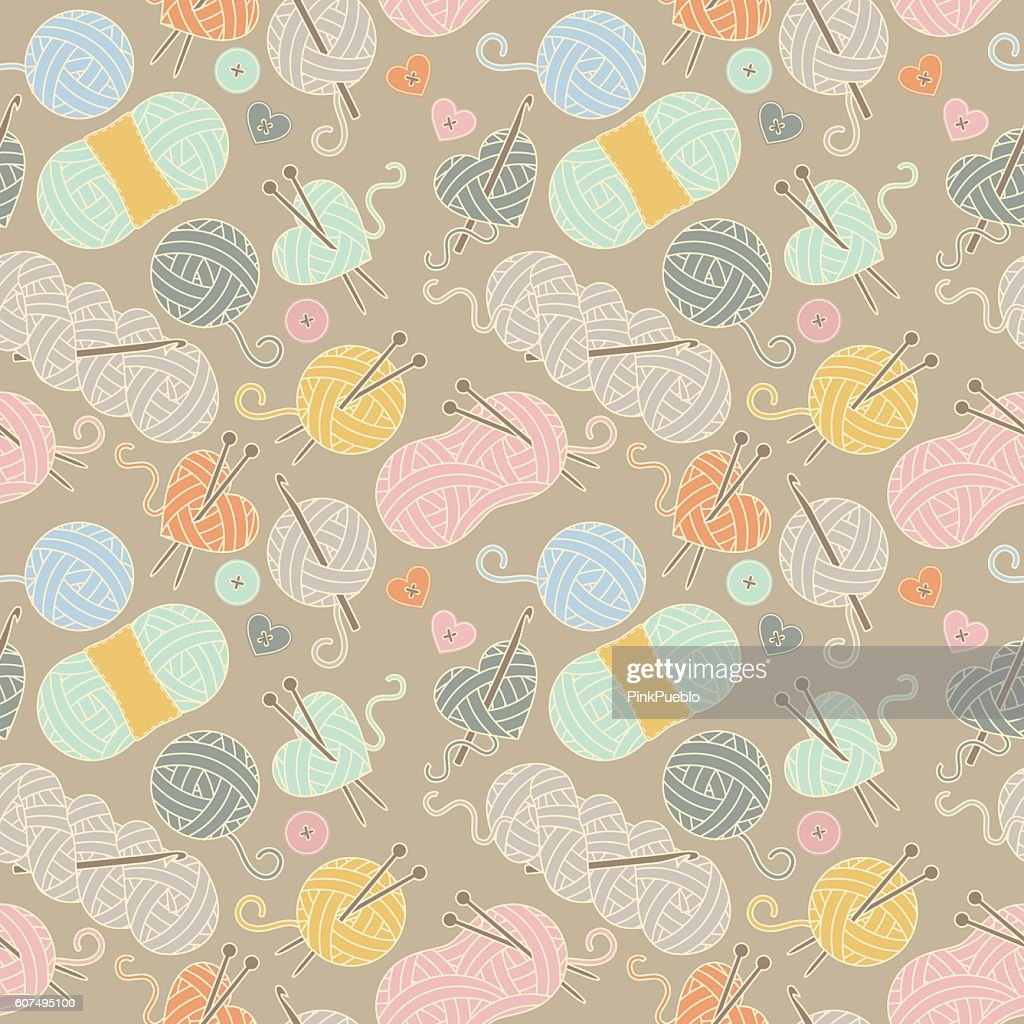 Seamless, Tileable Vector Background with Yarn