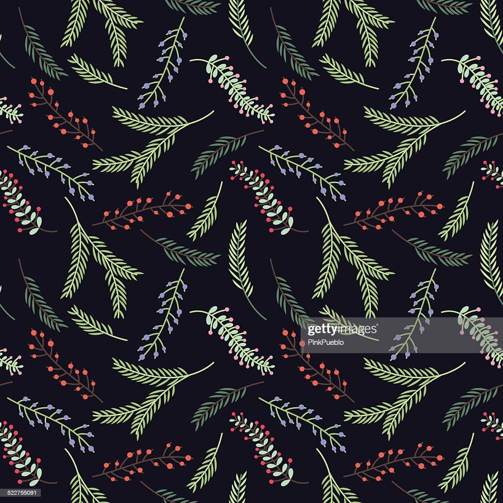 Seamless Tileable Vintage Floral Background Pattern - Vector Illustration