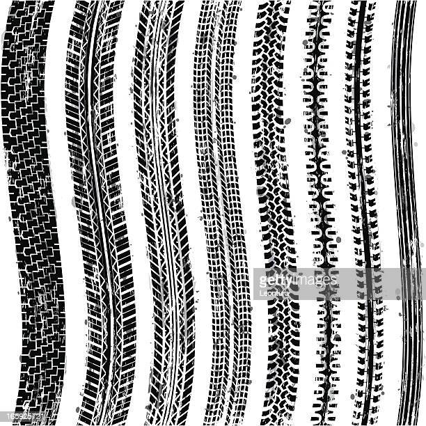 seamless tire tracks - tire marks stock illustrations, clip art, cartoons, & icons