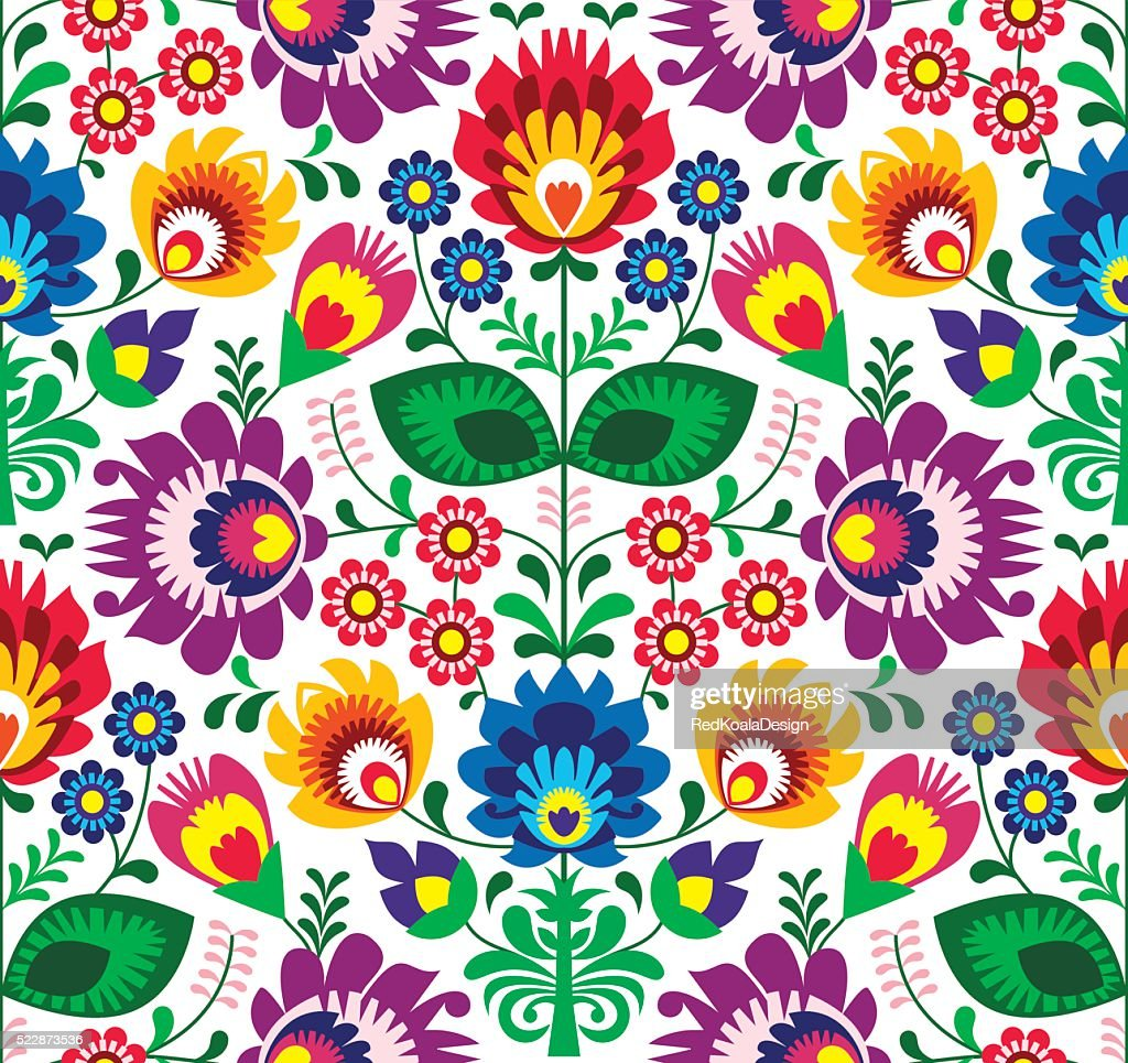 Seamless traditional floral Polish folk art pattern