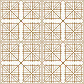 Seamless traditional Japanese geometric ornament .Golden color lines.