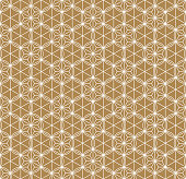 Seamless traditional Japanese ornament Kumiko.Golden color background..