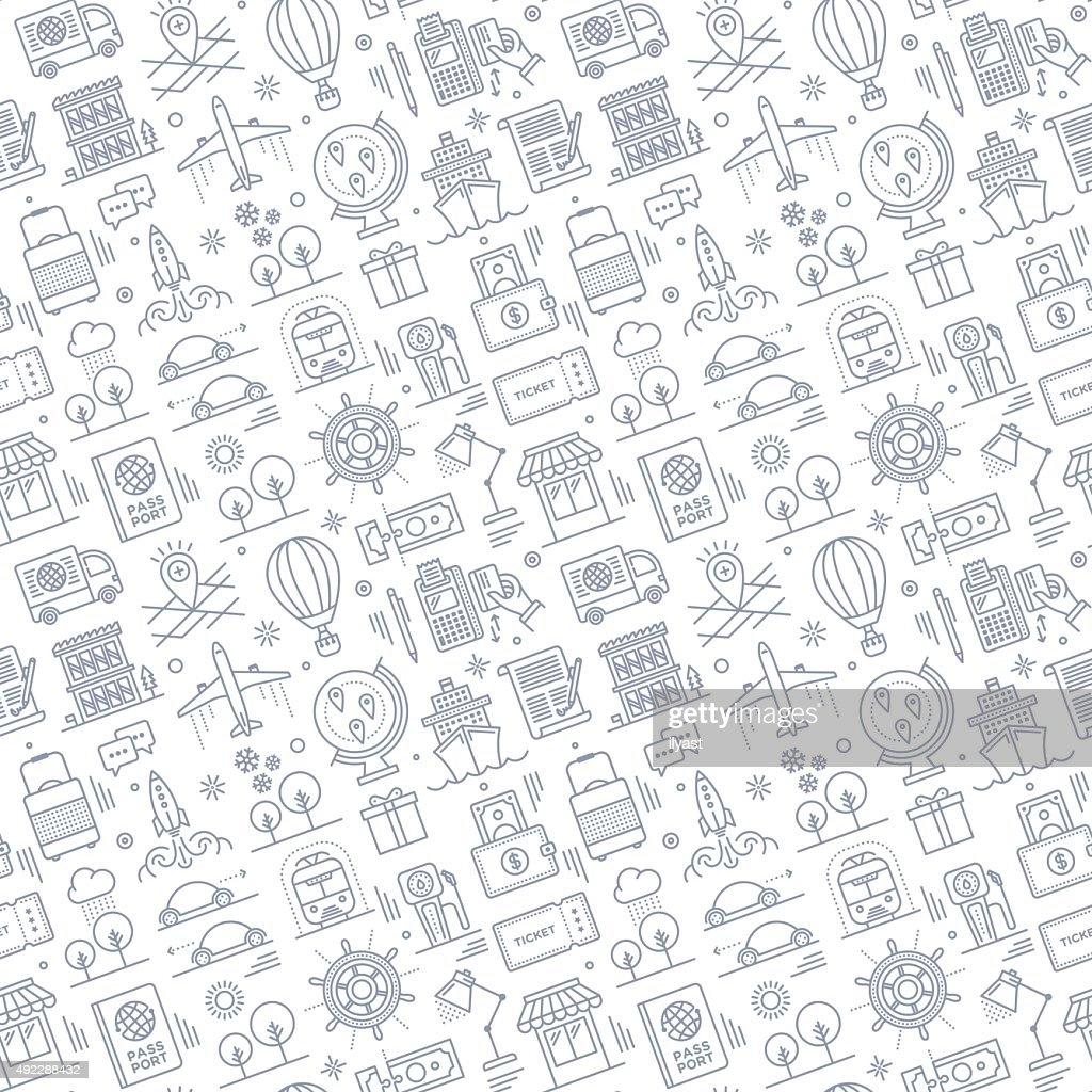 Patrón sin costuras de viajes : Ilustración de stock