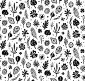 Seamless trendy black pattern with Seeds and leaves on a white background.