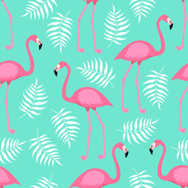 Seamless trendy tropical pattern with pink flamingo birds and tropic areca leaves on mint green background.