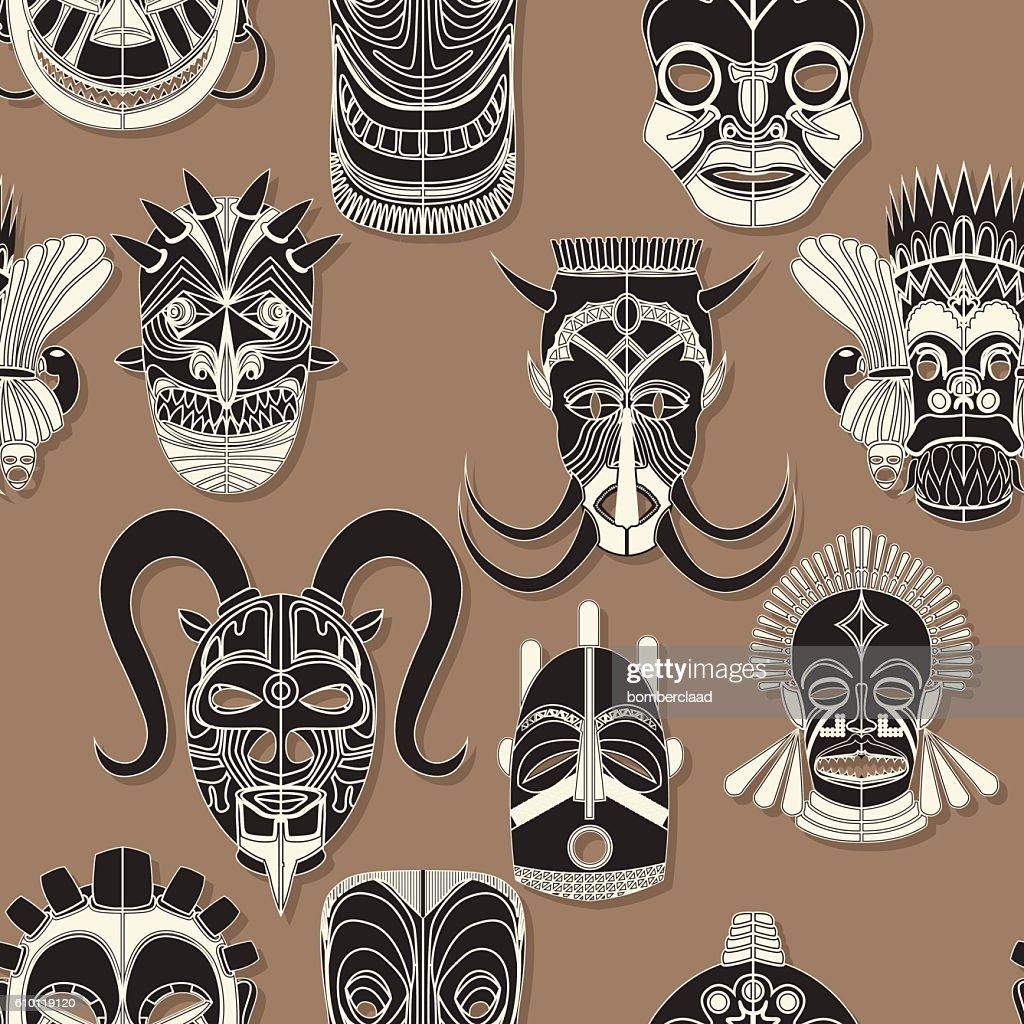 Seamless tribal mask