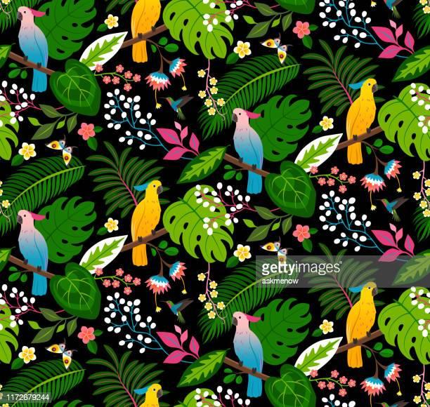 nahtloses tropisches blumenmuster - schöne natur stock-grafiken, -clipart, -cartoons und -symbole