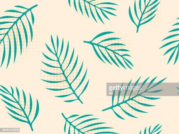illustrations, cliparts, dessins animés et icônes de fond de feuilles tropicales sans soudure - feuille de palmier