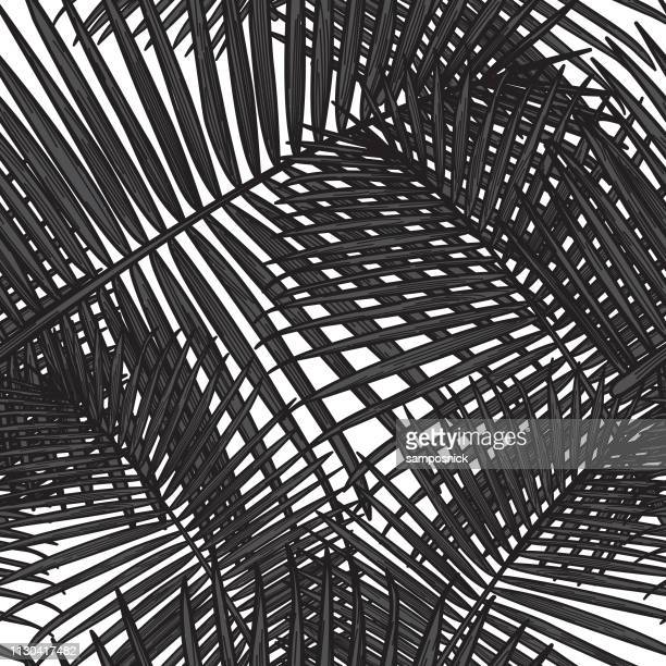 seamless tropical palm frond pattern - graphic print stock illustrations