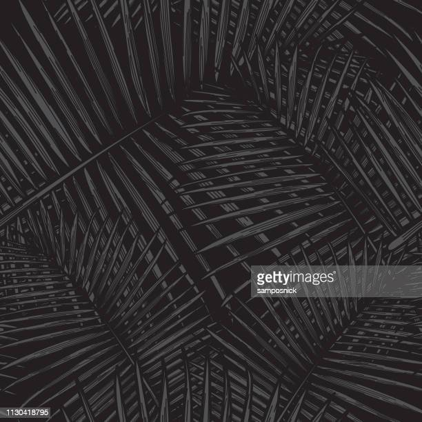 seamless tropical palm frond pattern - dark stock illustrations