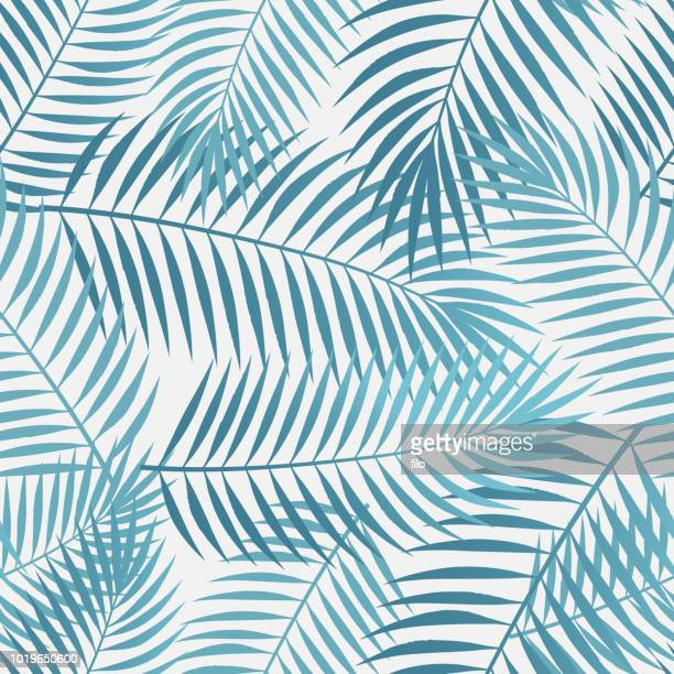 seamless tropical palm leaves - palm tree stock illustrations