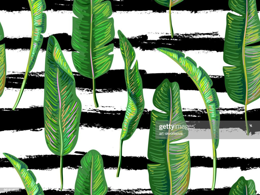 Seamless tropical pattern with banana leaves vector background. Perfect for wallpapers, pattern fills, web page backgrounds, surface textures, textile