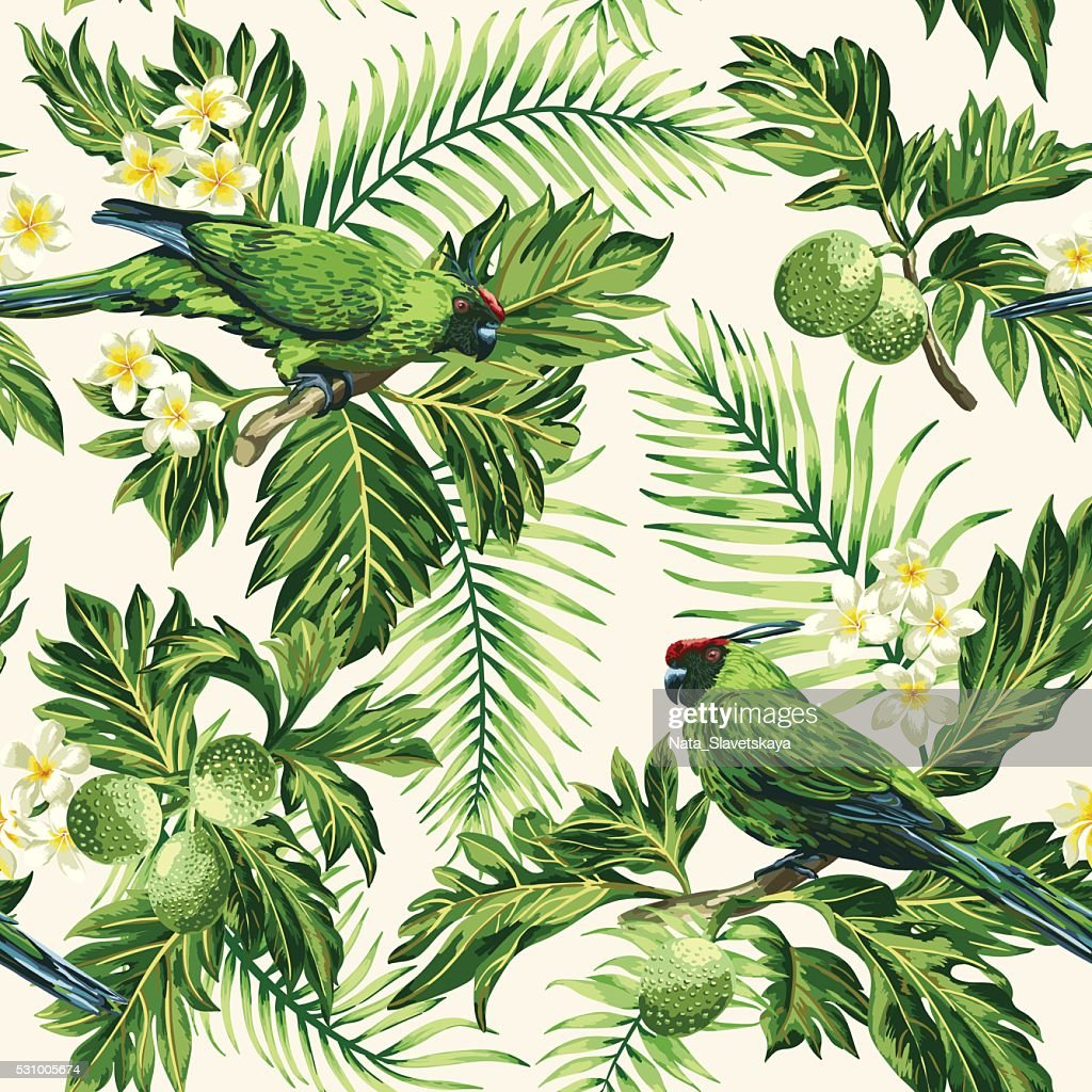 Seamless tropical pattern with leaves, flowers and parrots.