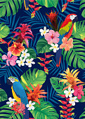 Seamless tropical pattern with macaw bird, guzmania, hibiscus flowers and palm leaves background.