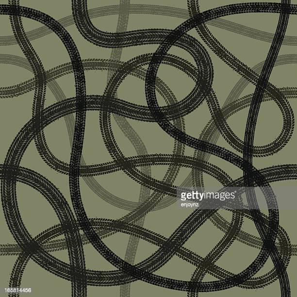 seamless tyre tracks - tire marks stock illustrations, clip art, cartoons, & icons